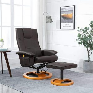 Massage Chair with Foot Stool Brown Faux Leather | Afterpay | zip |