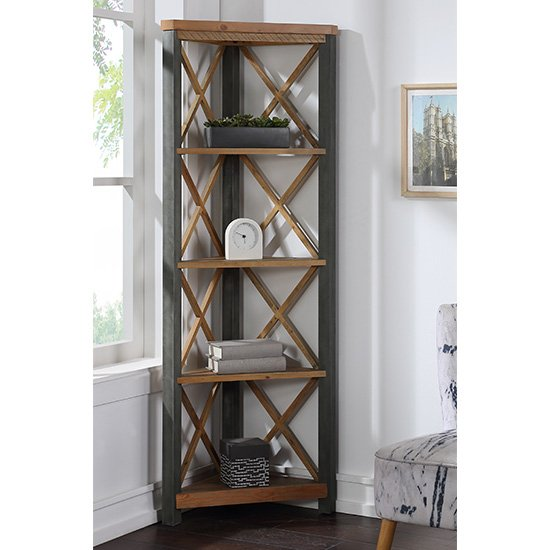 Nebura Large Corner Wooden Bookcase In Reclaimed Wood