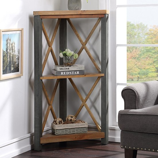 Nebura Small Corner Wooden Bookcase In Reclaimed Wood