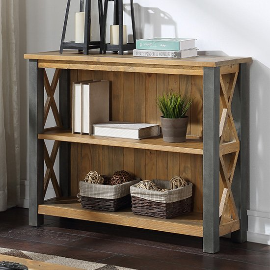 Nebura Wooden Low Bookcase In Reclaimed Wood