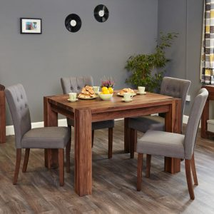 Norden Dining Table In Walnut With 6 Slate Novian Chairs