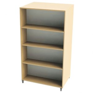 Nucleus Curve Double Sided Mobile Straight Bookcase, White/Beech