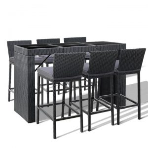Outdoor Bar Set Table Chairs Stools Rattan Patio Furniture 6 Seaters