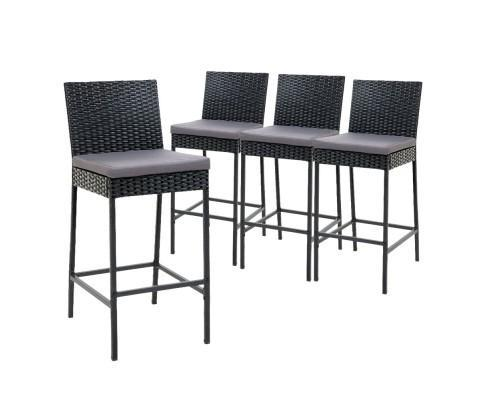 Outdoor Bar Stools Dining Chairs Rattan Furniture X4