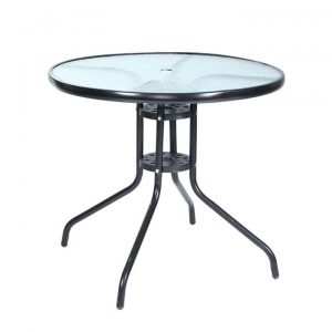 Outdoor Dining Table Bar Setting Steel Glass 70CM | Afterpay | zip |
