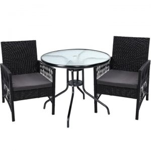 Outdoor Furniture Dining Chairs Rattan Garden Patio Cushion Black 3PCS Tea Coffee Cafe Bar Set