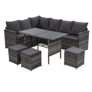 Outdoor Furniture Dining Setting Sofa Set Lounge Wicker 9 Seater Mixed Grey