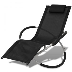 Outdoor Geometrical Sun Lounger Steel Black and Grey | Afterpay | zip
