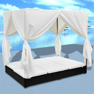 Outdoor Lounge Bed with Curtains Poly Rattan Black | Afterpay | zip |