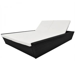 Outdoor Lounge Bed with Cushion Poly Rattan Black | Afterpay | zip |