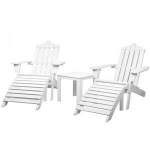 Outdoor Sun Lounge Beach Chairs Table Setting Wooden Adirondack Patio Chair