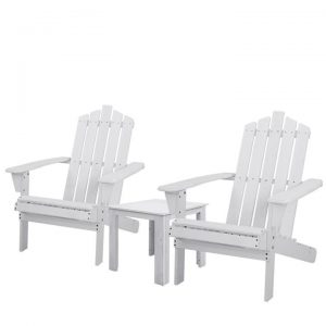 Outdoor Sun Lounge Beach Chairs Table Setting Wooden Adirondack Patio Chair White
