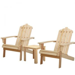 Outdoor Sun Lounge Beach Chairs Table Setting Wooden Adirondack Patio Natural Wood Chair