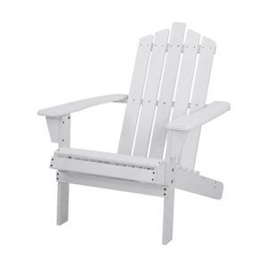 Outdoor Sun Lounge Beach Chairs Table Setting Wooden Adirondack Patio - White
