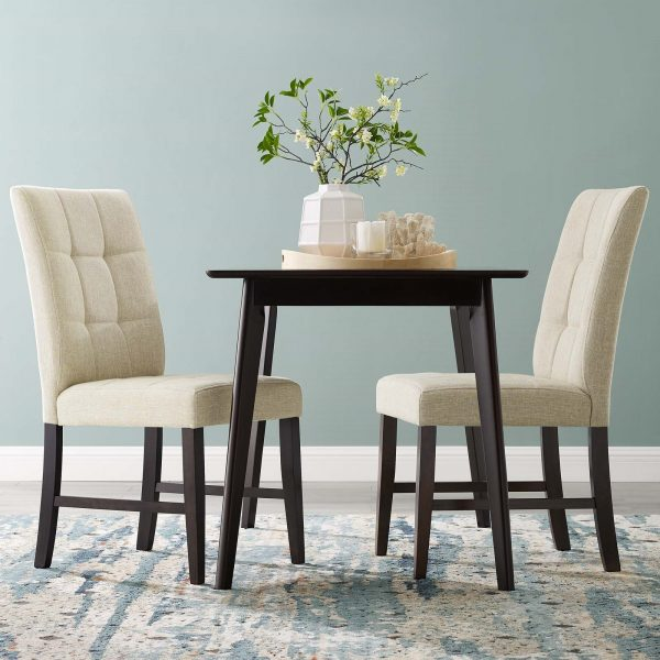 Promulgate Biscuit Tufted Upholstered Fabric Dining Chair Set of 2 in Beige