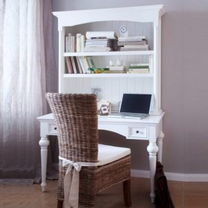 Proviko Secretary Computer Desk With Hutch In Classic White