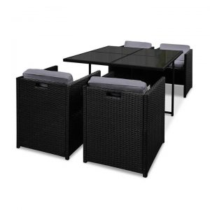 Rio Dining 5 Seater Set - Black & Grey | Afterpay | zipPay
