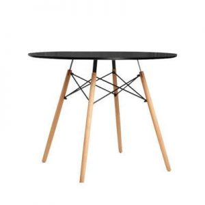 Round Dining Table 4 Seater 90cm Black Replica Eames DSW Cafe Kitchen Retro Timber Wood MDF Tables