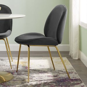 Scoop Gold Stainless Steel Leg Performance Velvet Dining Chair in Black