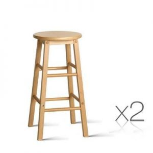 Set of 2 Wooden Bar Stool Natural | Afterpay | zipPay | Oxipay