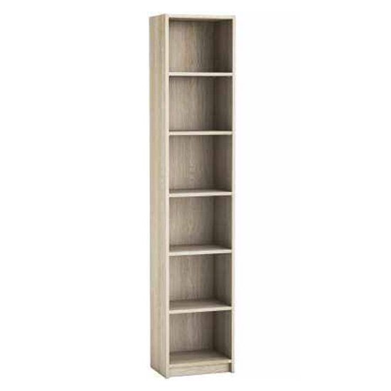 Sharatan Narrow Wooden Bookcase In Shannon Oak With 5 Shelves