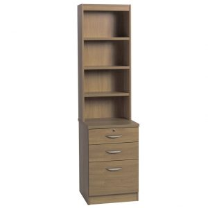 Small Office 3 Drawer Filing Cabinet With Hutch Bookcase, English Oak