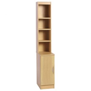 Small Office Desk High Cupboard With Hutch Bookcase, Classic Oak