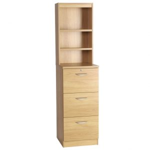 Small Office Mid Height 3 Drawer Filing Cabinet With Hutch Bookcase, Classic Oak