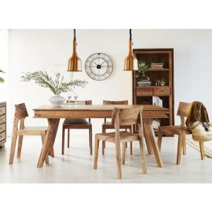 Spica Dining Table In Natural Sheesham With 6 Chairs
