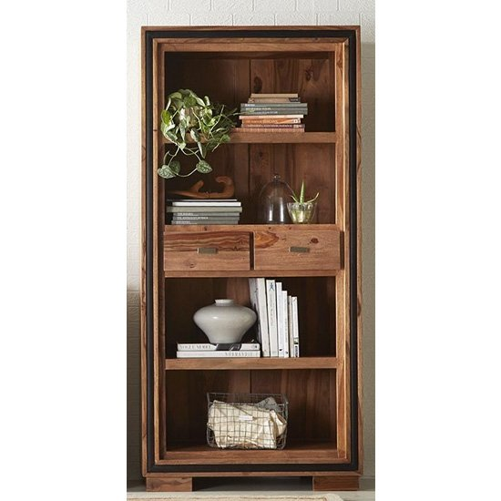 Spica Wooden Large Wide 2 Drawers Bookcase In Natural Sheesham