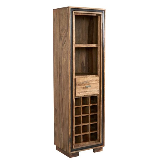 Spica Wooden Wine Bookcase In Natural Sheesham With 2 Drawers
