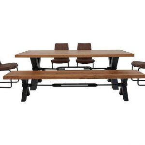 Terra Dining Table, 4 Cognac Chairs and Bench Dining Set