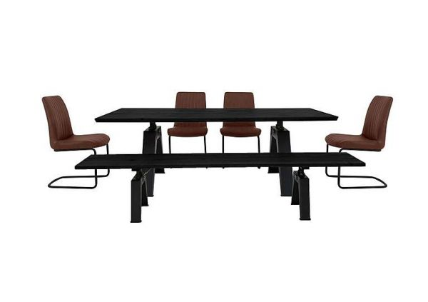 Thor Dining Table, 4 Cognac Dining Chairs and Dining Bench Dining Set