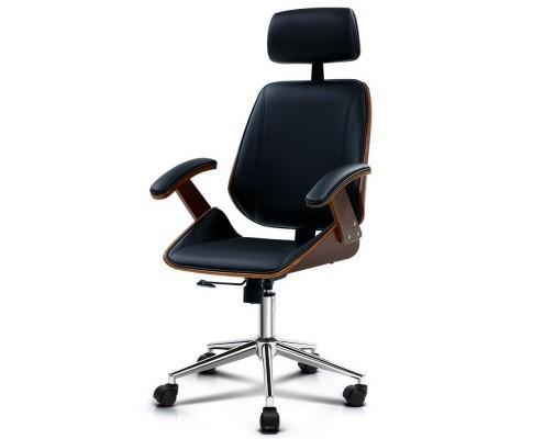 Wooden Office Chair Computer Gaming Chairs Executive Leather Black |