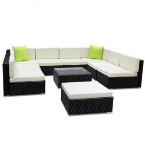 10PC Outdoor Furniture Sofa Set Wicker Ga | Afterpay | zipPay | PayItLater