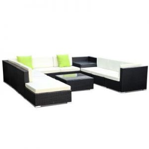 11PC Outdoor Furniture Sofa Set Wicker Ga | Afterpay | zipPay | PayItLater