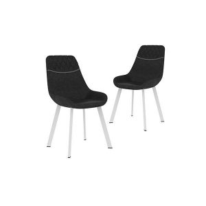 2 Pcs Dining Chairs Black Faux Leather