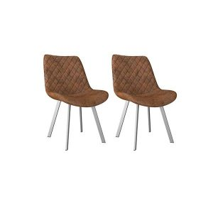 2 Pcs Dining Chairs Brown Faux Suede Leather Metal Legs