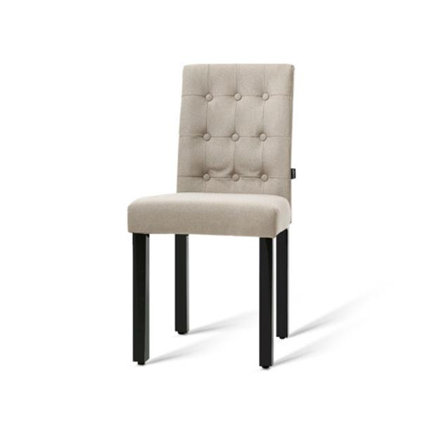 2X Dona Dining Chair Fabric Foam Padded High Back Wooden