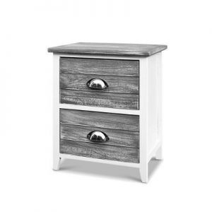 2x Bedside Table Nightstands 2 Drawers Storage Cabinet Bedroom Side