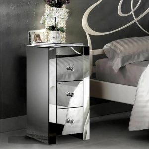 2x Levede Mirrored Bedside Tables Chest Nightstand Crystal Glass Table 3 Drawer