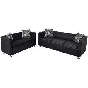 3-Seater And 2-Seater Sofa Set - Black