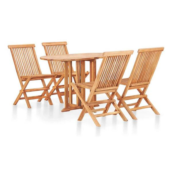 5 Piece Folding Outdoor Dining Set Solid Teak Hard Wood