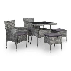 5 Piece Outdoor Dining Set Poly Rattan Armchair Stool And Glass