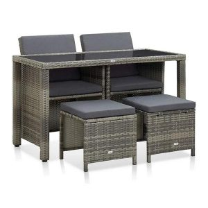 5 Piece Outdoor Dining Set With Grey Cushions Pe Rattan