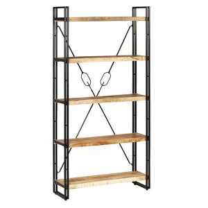 5 Tier Solid Mango Wood and Steel Bookcase 90x30x180cm