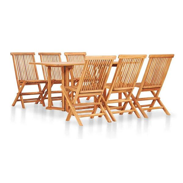 7 Piece Folding Outdoor Dining Set Solid Teak Wood Waterbase Finish