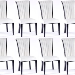 8 x Urban Deco Cadiz White Faux Leather Dining Chair