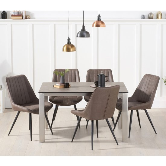 Alejeno Brown Ceramic Dining Table With 4 Mink Nunki Chairs