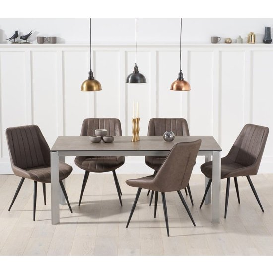 Alejeno Brown Ceramic Dining Table With 6 Mink Nunki Chairs